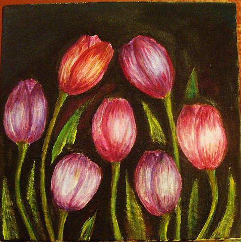 Flowers Painting - Night Tulips by Jeanne Mytareva