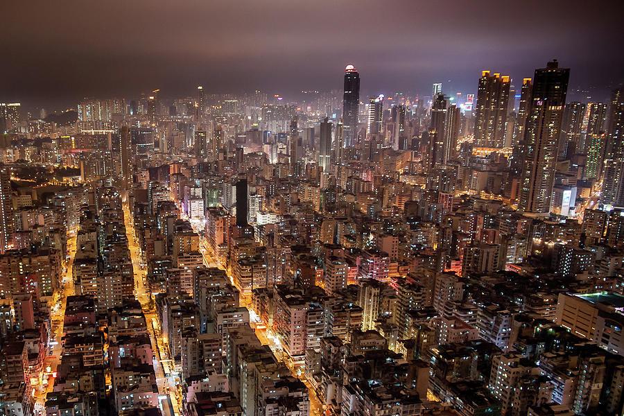 Horizontal Photograph - Night View Of Kowloon by Ray Cheung