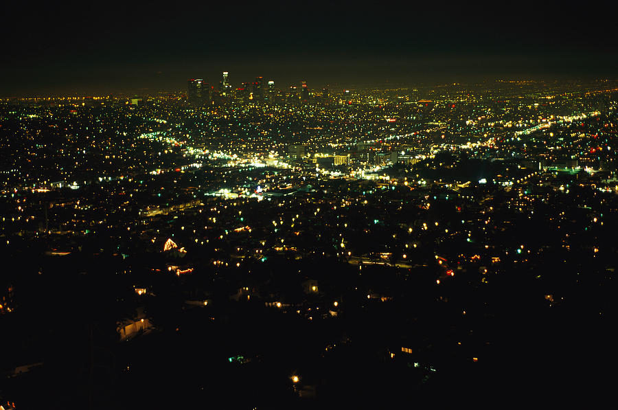 Night View Of Los Angeles City Lights Photograph By Nadia