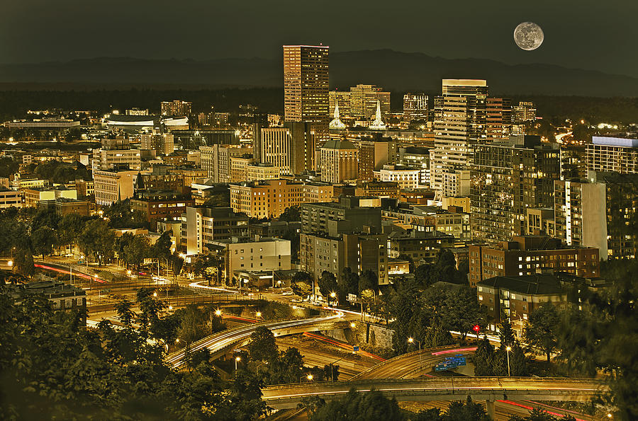 No People Photograph - Night View Of Portland City Downtown by Tatiana Boyle