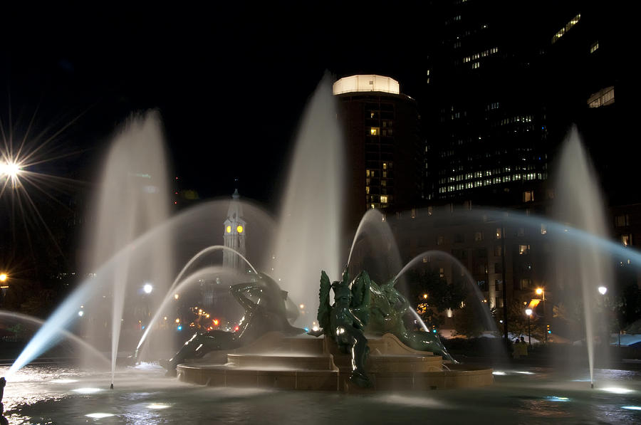 Swan Photograph - Night View Of Swann Fountain by Bill Cannon