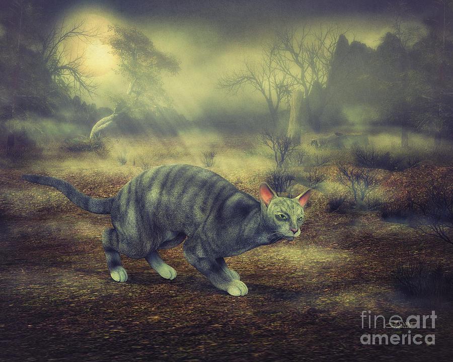 3d Digital Art - Night Walk by Jutta Maria Pusl