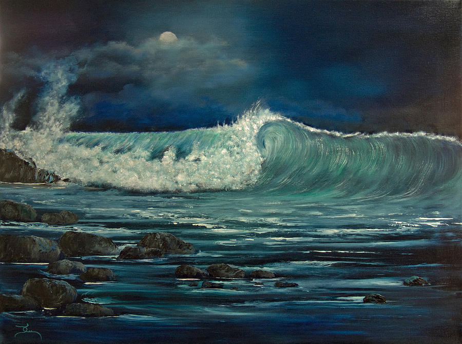 Night Wave Painting By Dee Carpenter