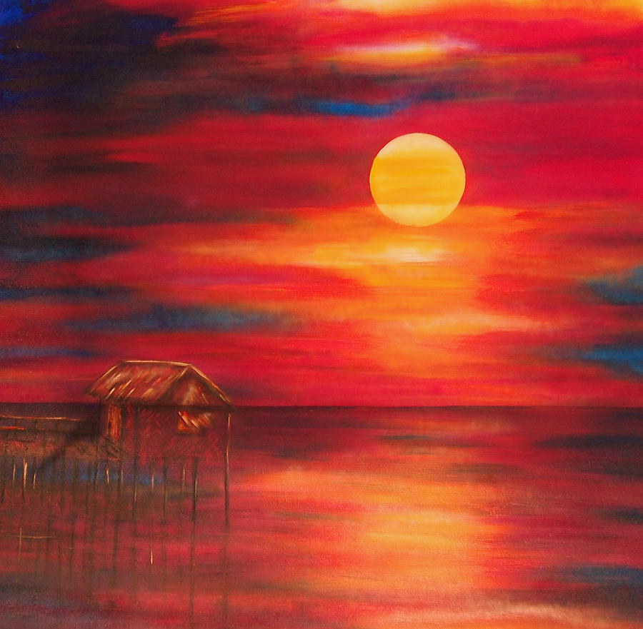 Seascape painting nipa hut at sunset by lyn deutsch
