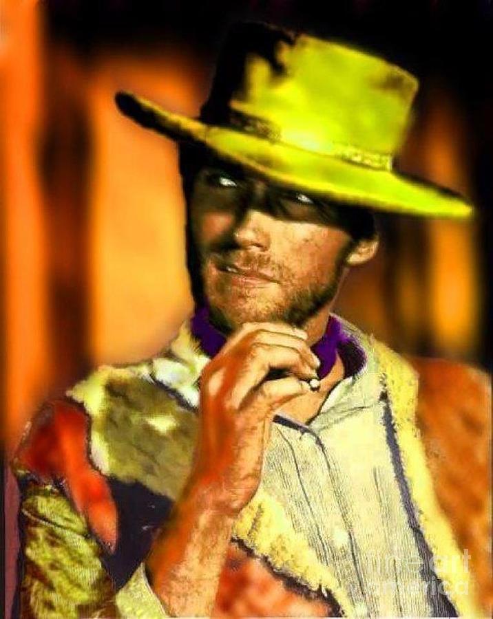 Laurence Fishburne Painting - Nixo Clint Eastwood by Nicholas Nixo