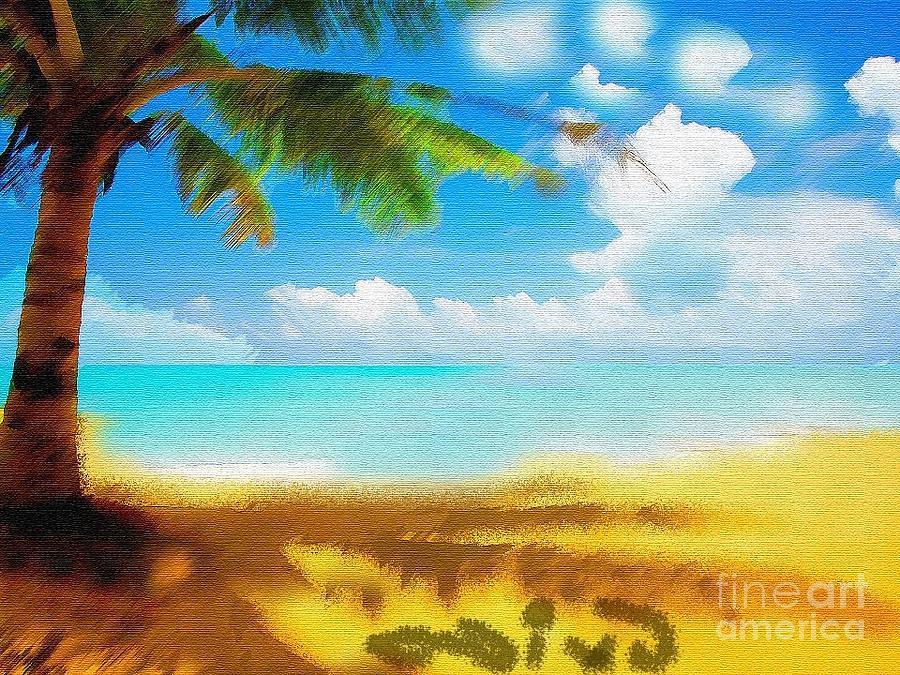 Laurence Fishburne Painting - Nixo Landscape Beach by Nicholas Nixo