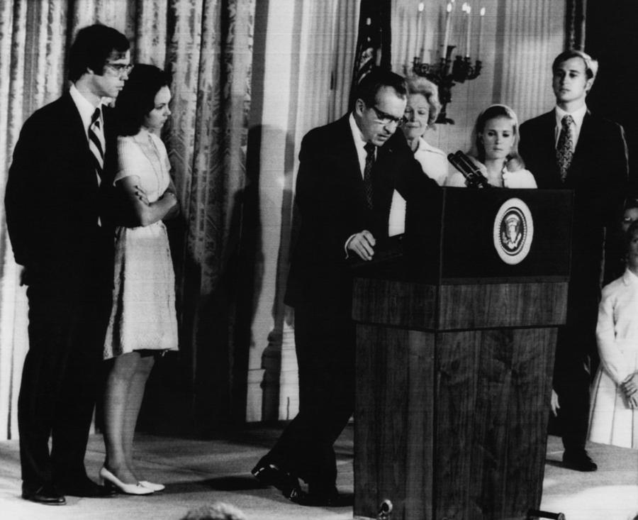 1970s Photograph - Nixon Presidency. From Left David by Everett