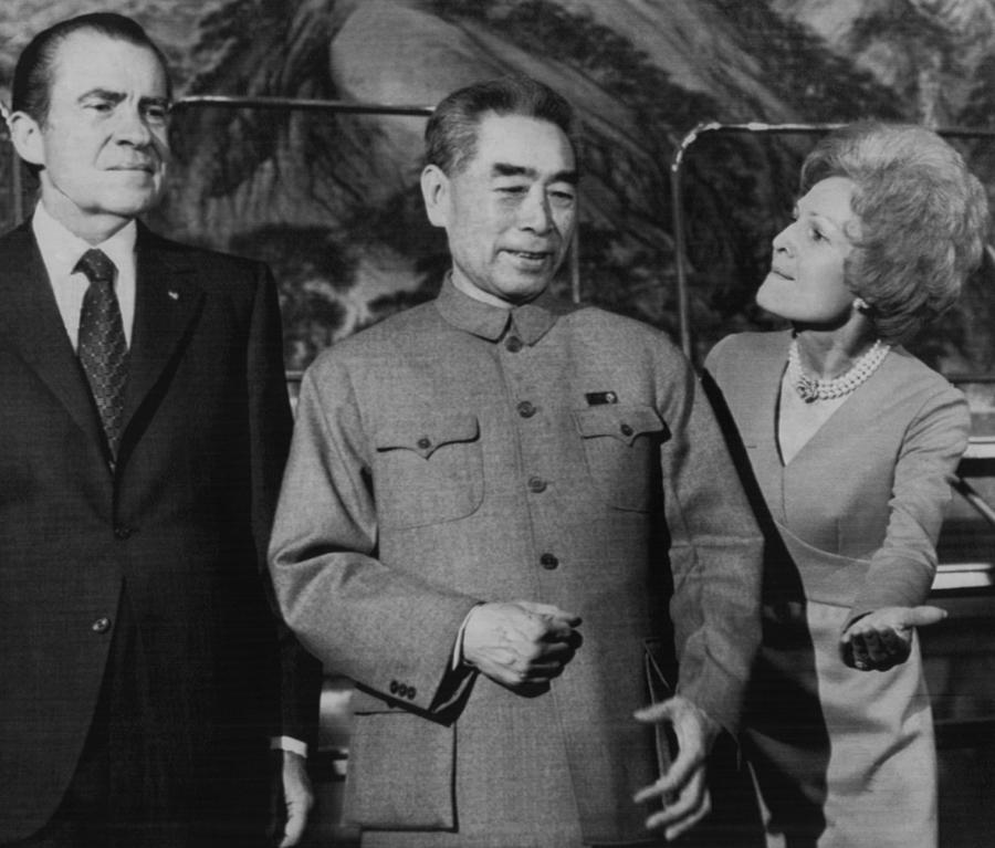 1970s Photograph - Nixon Presidency.  From Left  Us by Everett