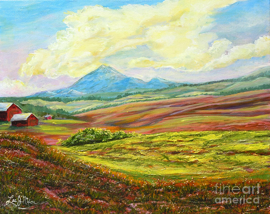 Lee Painting - Nixons Golden Light Converging Upon The Farm by Lee Nixon
