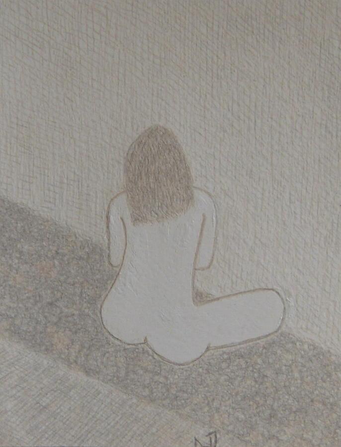 Nude Drawing - No. 371 by Vijayan Kannampilly