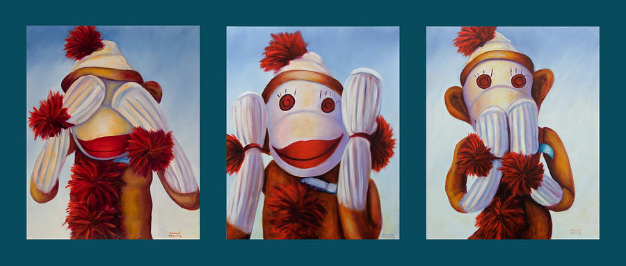 See No Evil Painting - No Bad Stuff Triptych by Shannon Grissom