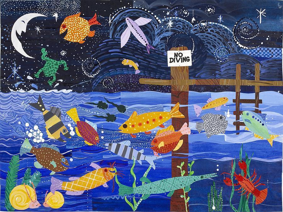 Joyful Painting - No Diving by Barbara Esposito