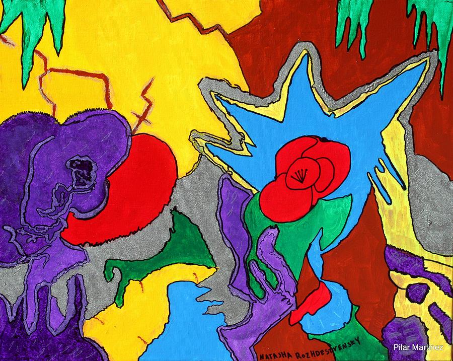 Rose Painting - No Ordinary Garden by Natasha  Rozhdestvensky