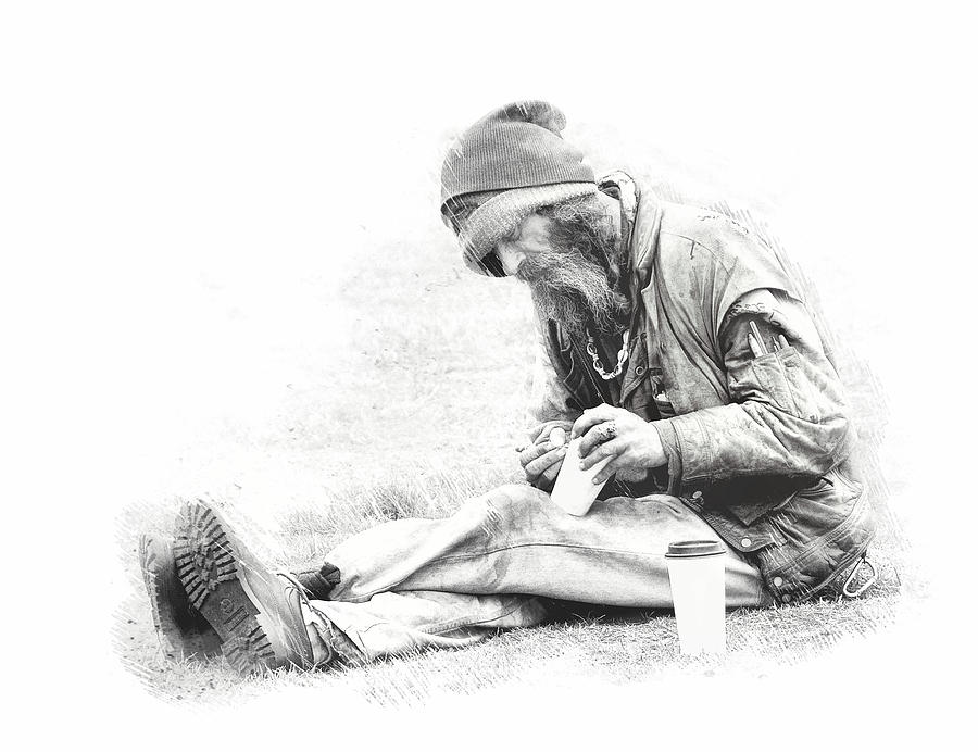 Homeless Photograph - No Sense Of Life Or Joy ....  by Bob Kramer