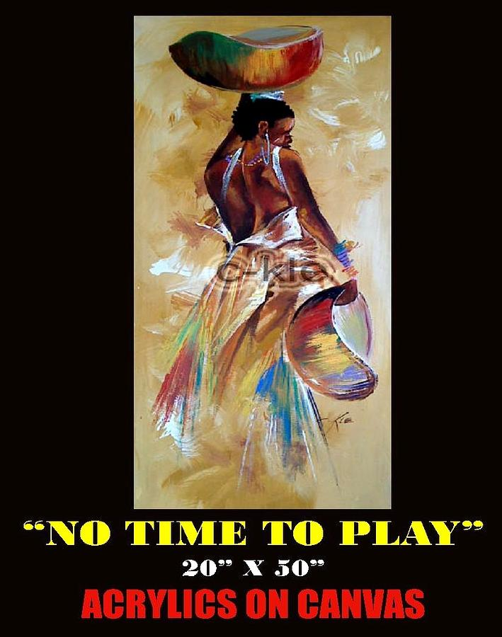 No Time To Play Painting by Clement Martey