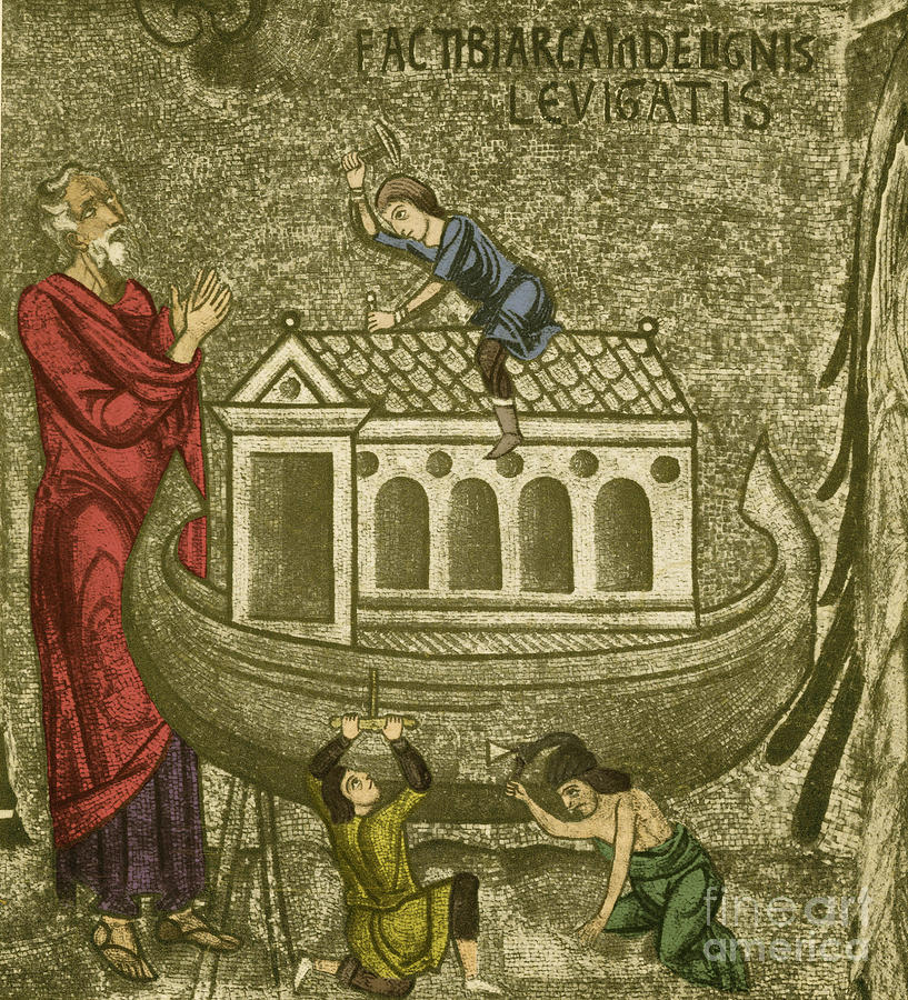 History Photograph - Noah Building The Ark by Photo Researchers