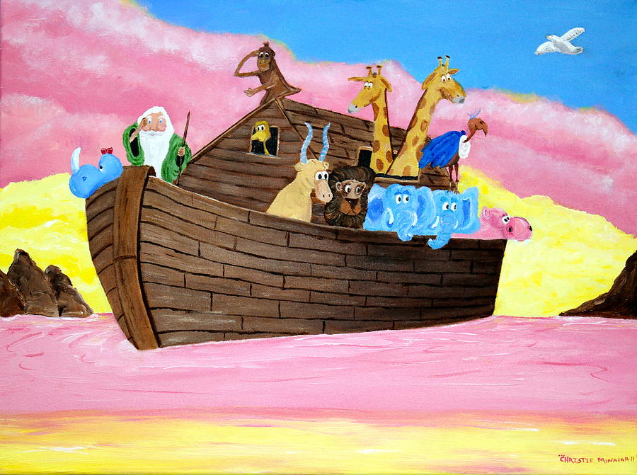 Pink Painting - Noahs Ark by Christie Minalga