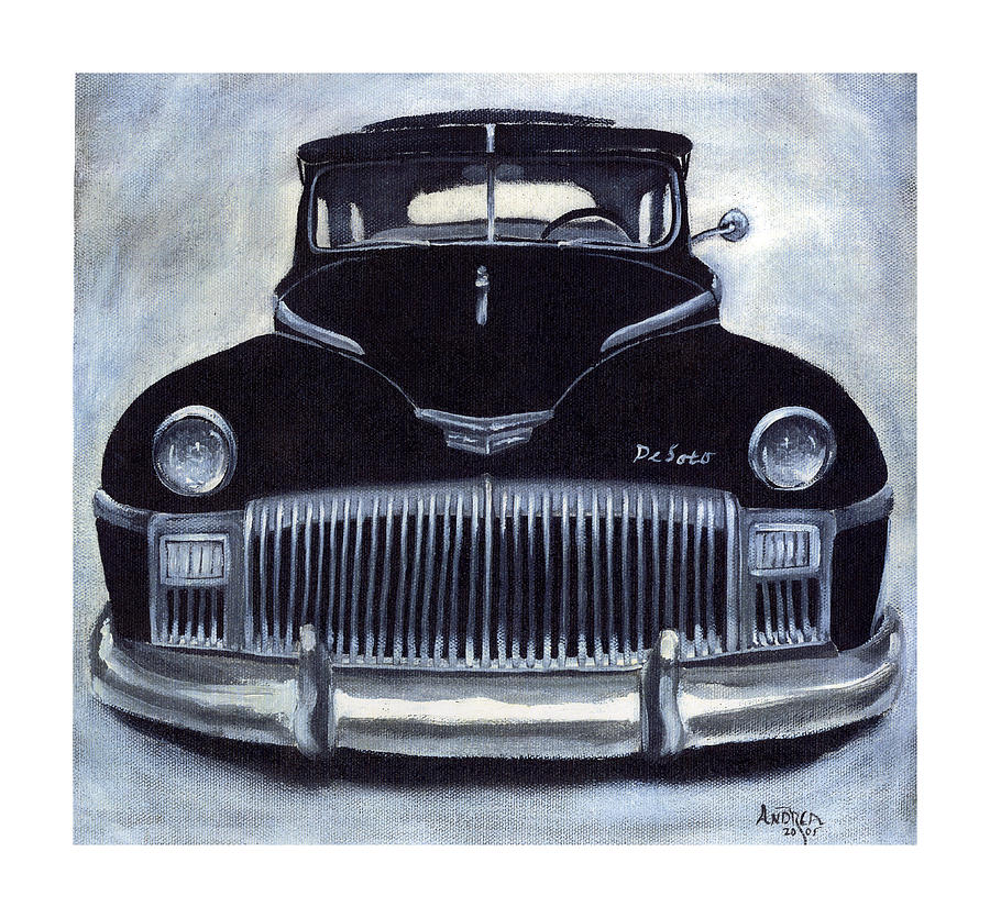 Classic Old Car Painting - Norma Jeans 1948 De Soto by Andrea Camp