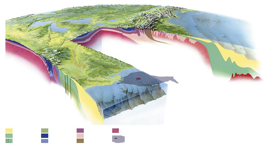 Continent Photograph - North American Geology And Oil Slick by Gary Hincks