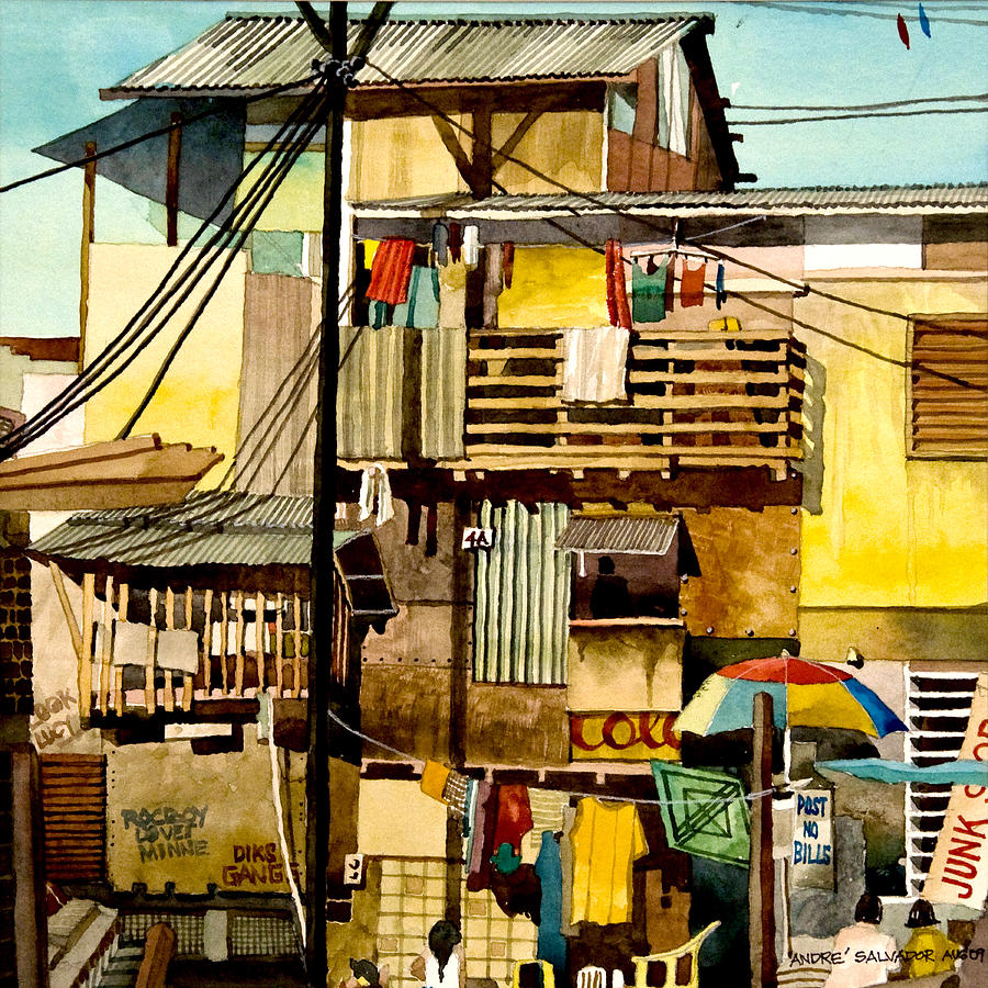 Watercolor Painting Painting - North Bay Squatters by Andre Salvador