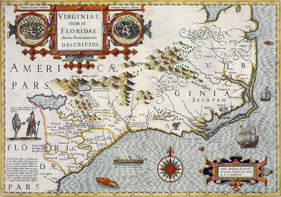 North Carolina Drawing - North Carolina by Jodocus Hondius