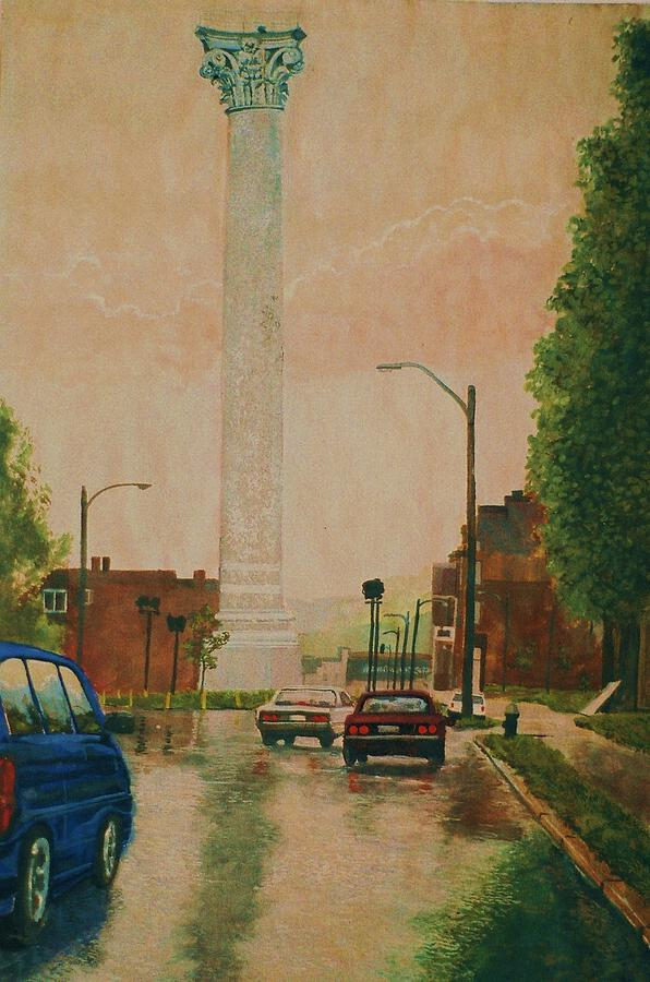 Landscape Painting - North Grand Water Tower by Terry Jackson