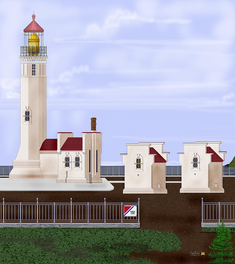 North Head Lighthouse Painting - North Head Lighthouse Original Structures by Anne Norskog