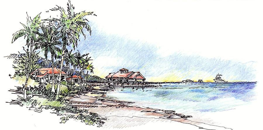 North Sound Beach Drawing by Andrew Drozdowicz