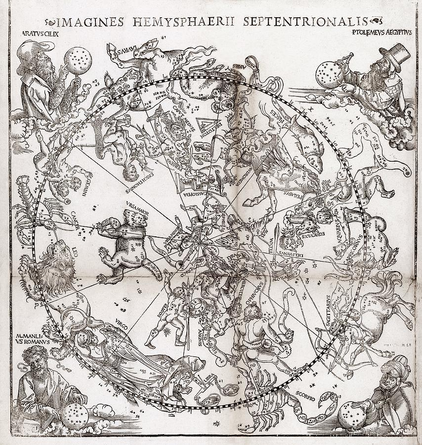 Ptolemy Photograph - Northern Hemisphere Star Chart, 1537 by Middle Temple Library
