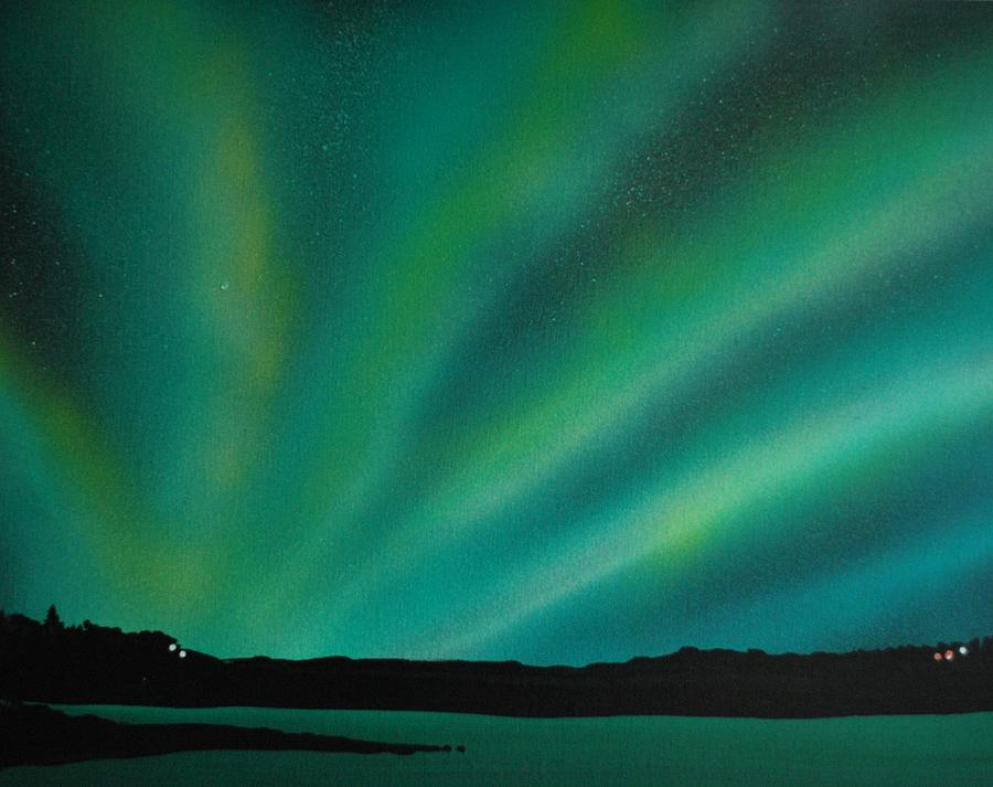 Big Sky Painting   Northern Lights Cabin 3 By DC Decker