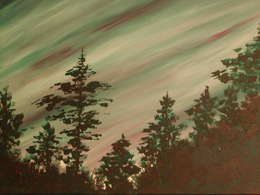 Green Painting - Northern Lights by Debbie Beck