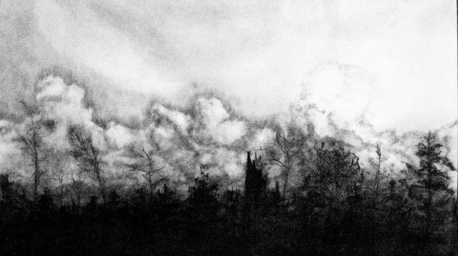 Landscape Drawing - Northern Minnesota Storm by Hannah Ostman