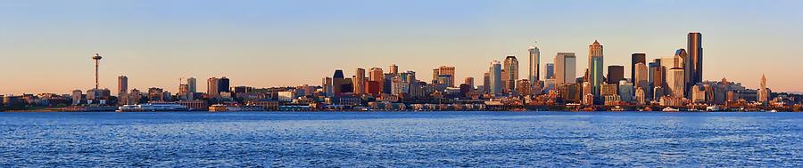 Digital Photo Art Photograph - Northwest Jewel - Seattle Skyline Cityscape by James Heckt