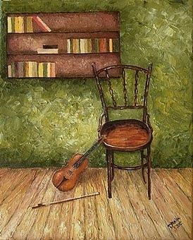 Violin Painting - Nostalgia by Draia Coralia