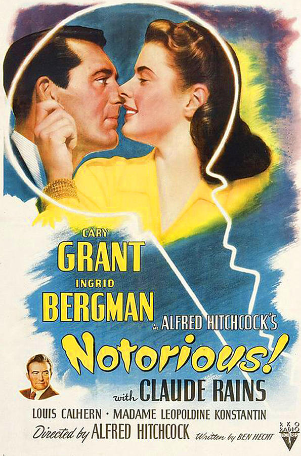 1940s Movies Photograph - Notorious, Cary Grant, Ingrid Bergman by Everett