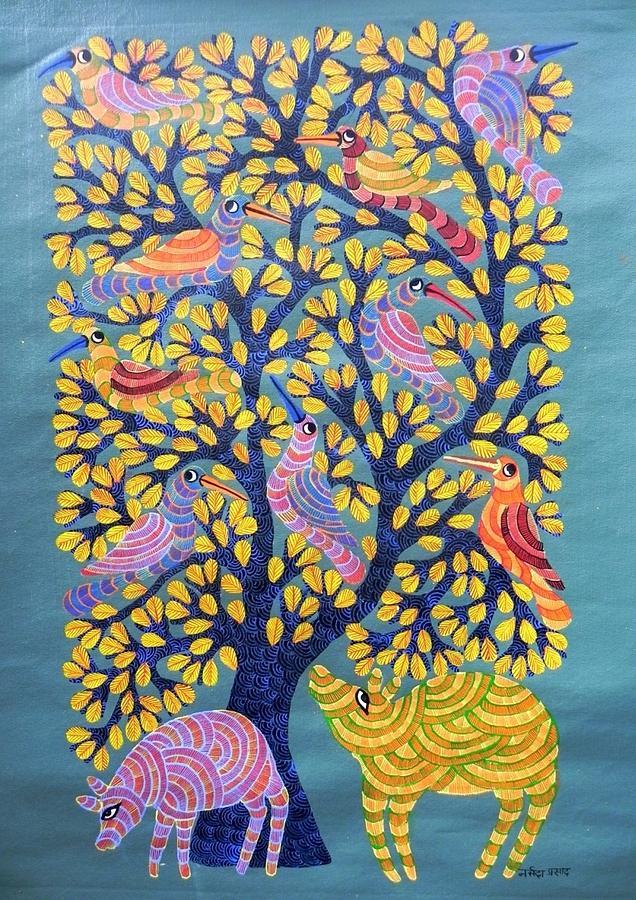 Indian Tribal Art Painting - Npt 39 by Narmada Prasad Tekam