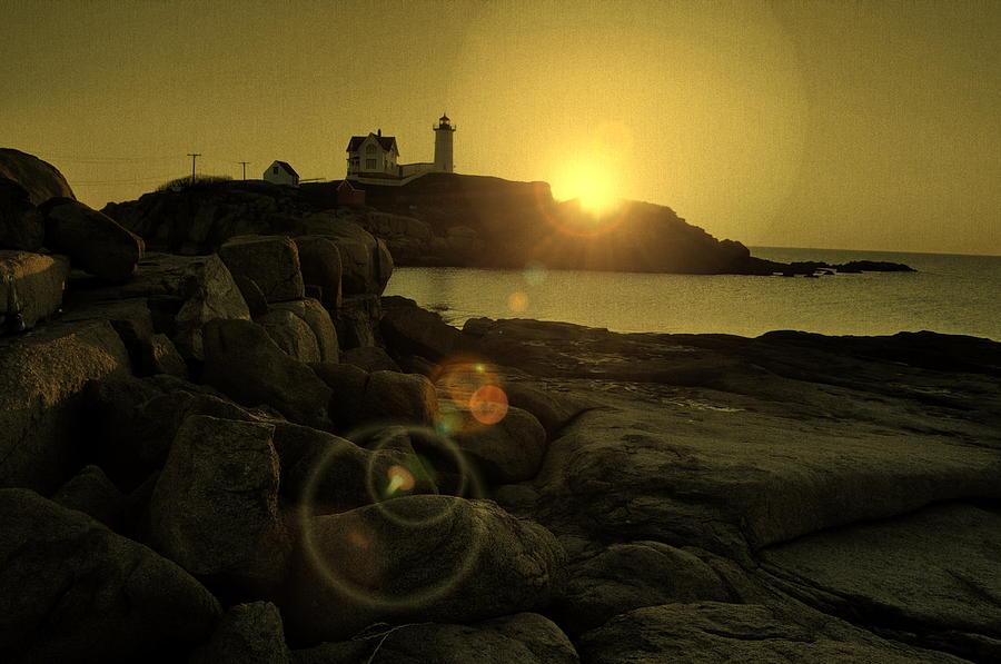 Nubble Lighthouse Photograph - Nubble Burst by Emily Stauring