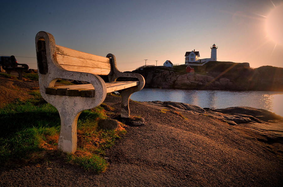 Nubble Lighthouse Photograph - Nubble Seat by Emily Stauring