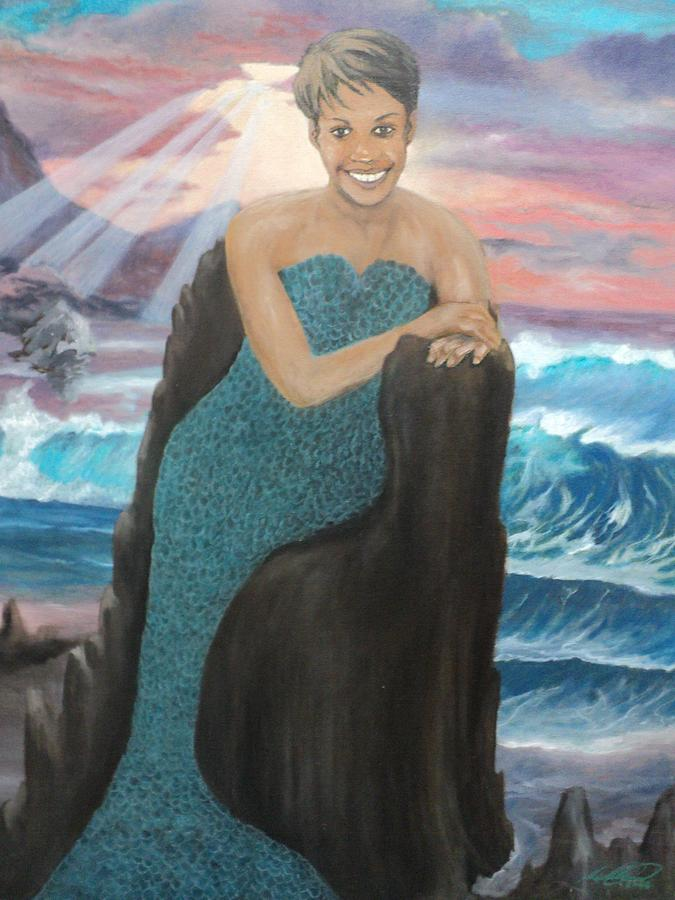 African-american Painting - Nubian Mermaid by Angelo Thomas