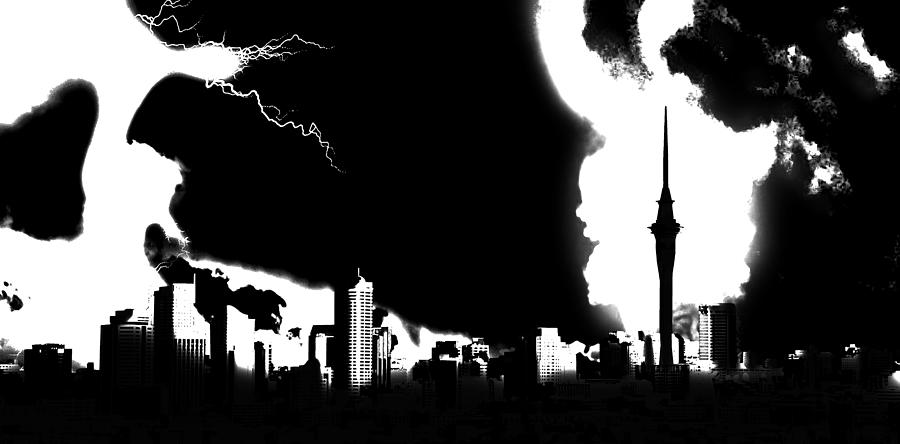 City Digital Art - Nuclear Fallout by Russell Clenney