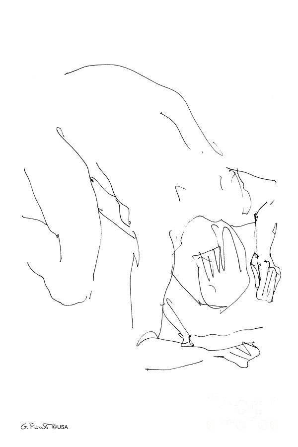 Male Drawing - Nude-male-artwork-21 by Gordon Punt