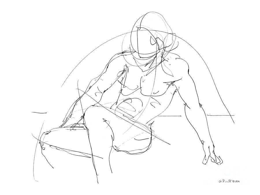 Male Drawing - Nude-male-drawings-13 by Gordon Punt