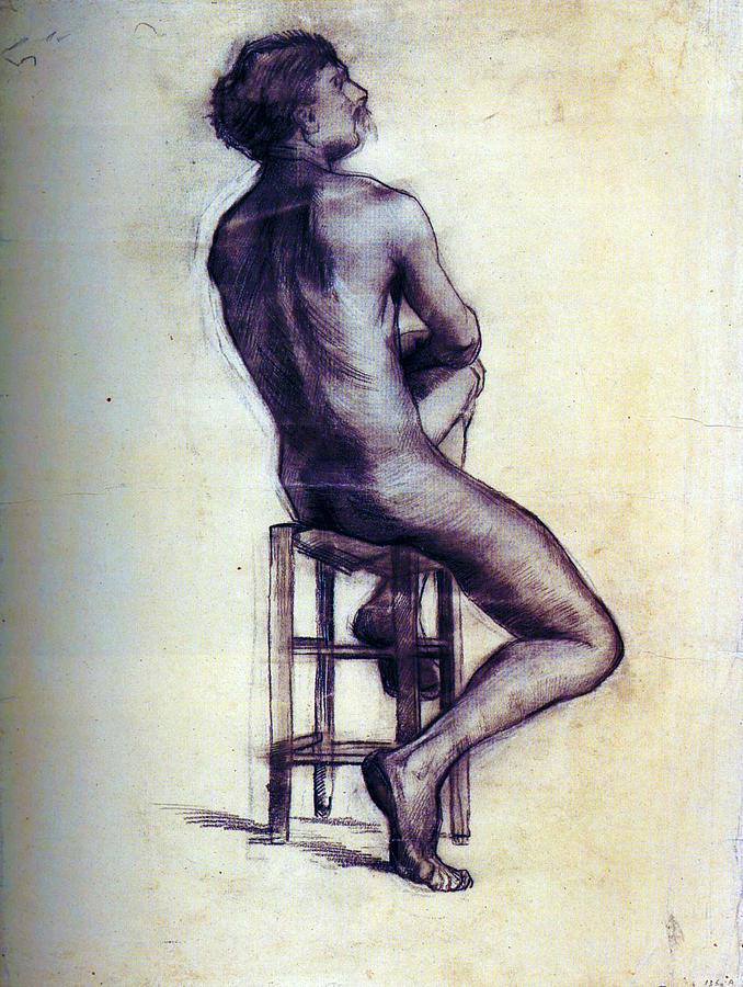 Nude Painting - Nude Man Sketch by Sumit Mehndiratta