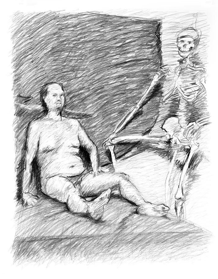 Drawing Photograph - Nude Man With Skeleton by Adam Long