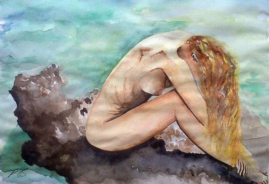 Nude Painting - Nude On A Rock II. by Paula Steffensen