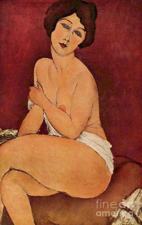Seated Paintings Painting - Nude On Divan by Pg Reproductions