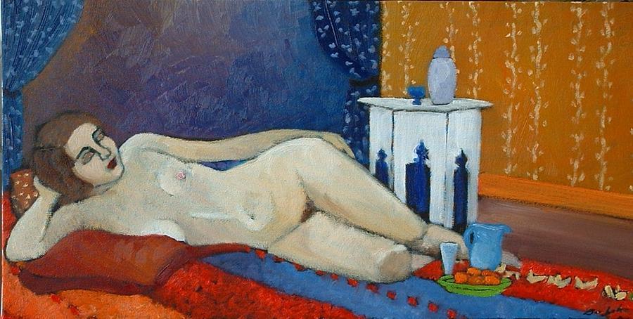 Figurative Painting - Nude On Orange by Terri Jordan