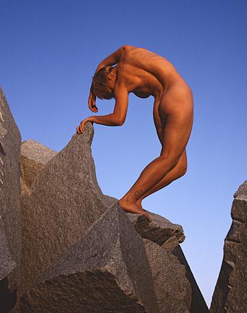 Original Cibachrome Print Photograph - Nude On Rock by Scott Shaver
