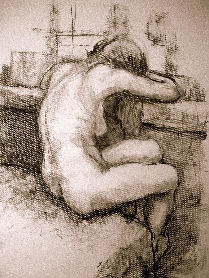 Nude On The Window Drawing by Alfons Niex