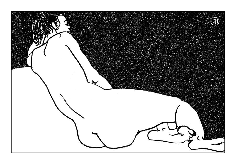 Nude Drawing - Nude Sketch 49 by Leonid Petrushin